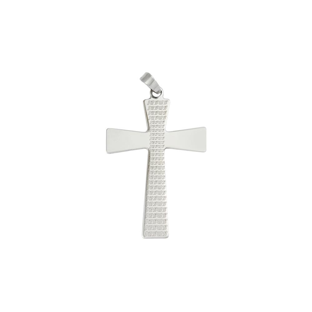 Pingente Cruz de Aço Inox 316l Gravado Jesus