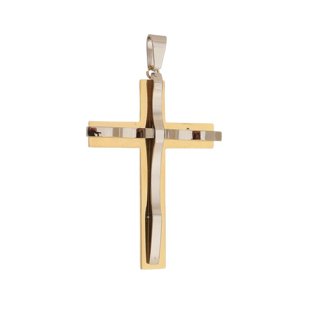 Pingente Cruz Dourada de Aço Inox