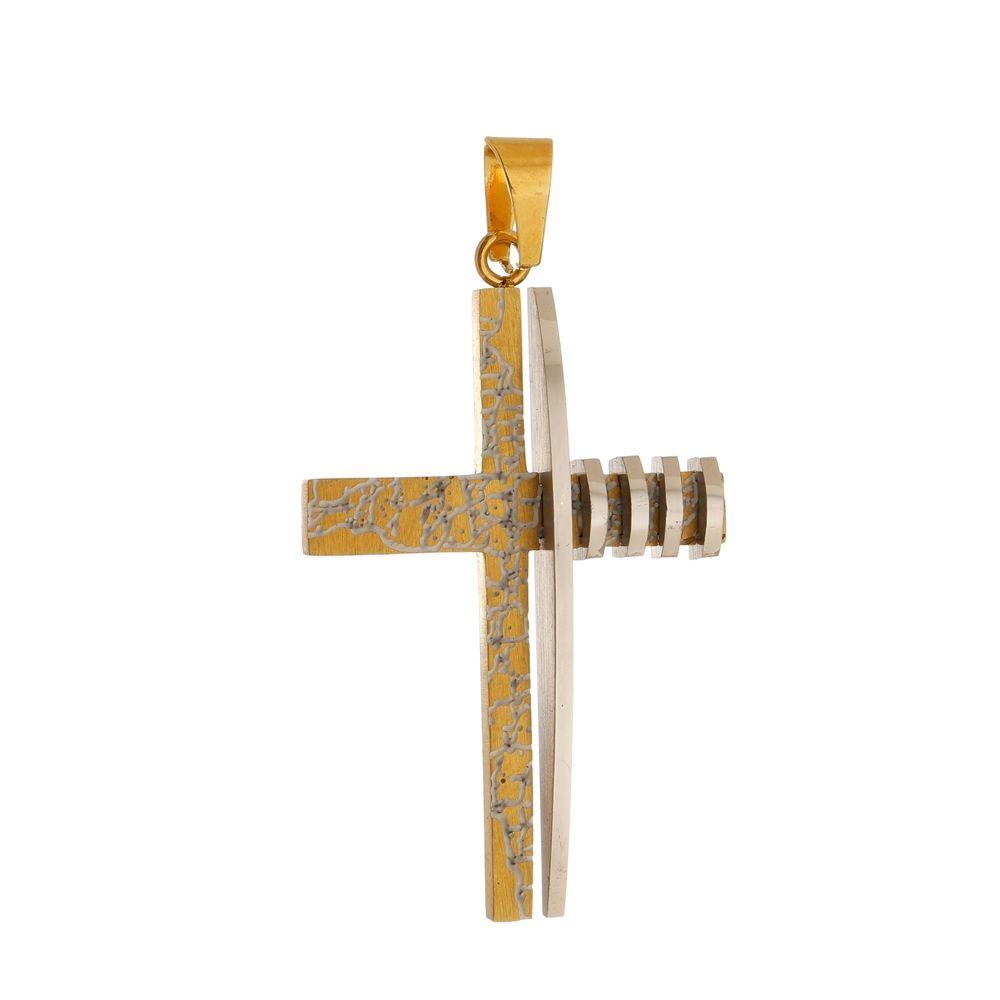Pingente Cruz Dourada Marmorizada de Aço Inox