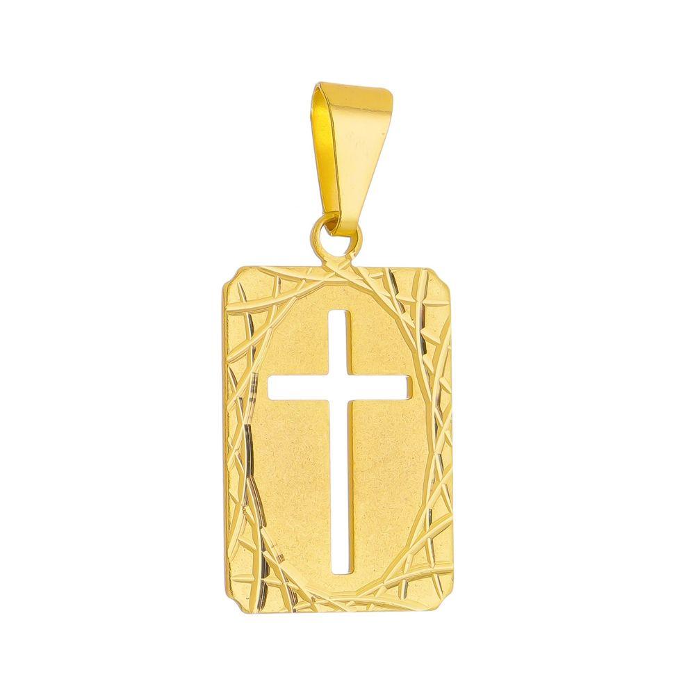 Pingente Cruz Folheada a Ouro 18k
