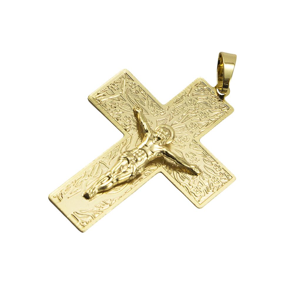 Pingente Cruz Grande Folheada a Ouro 18k