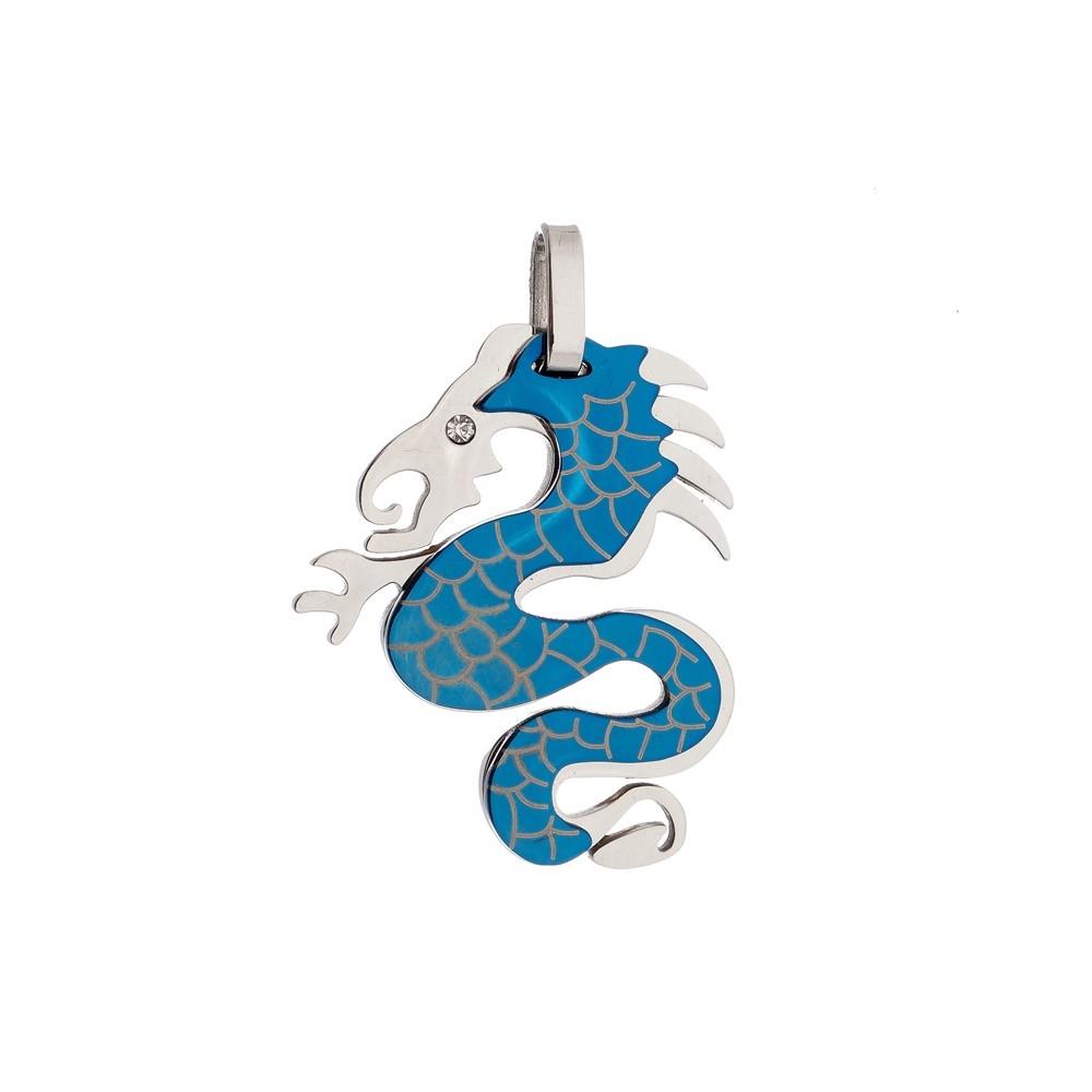 Pingente Dragão Blue de Aço Inox 316 L
