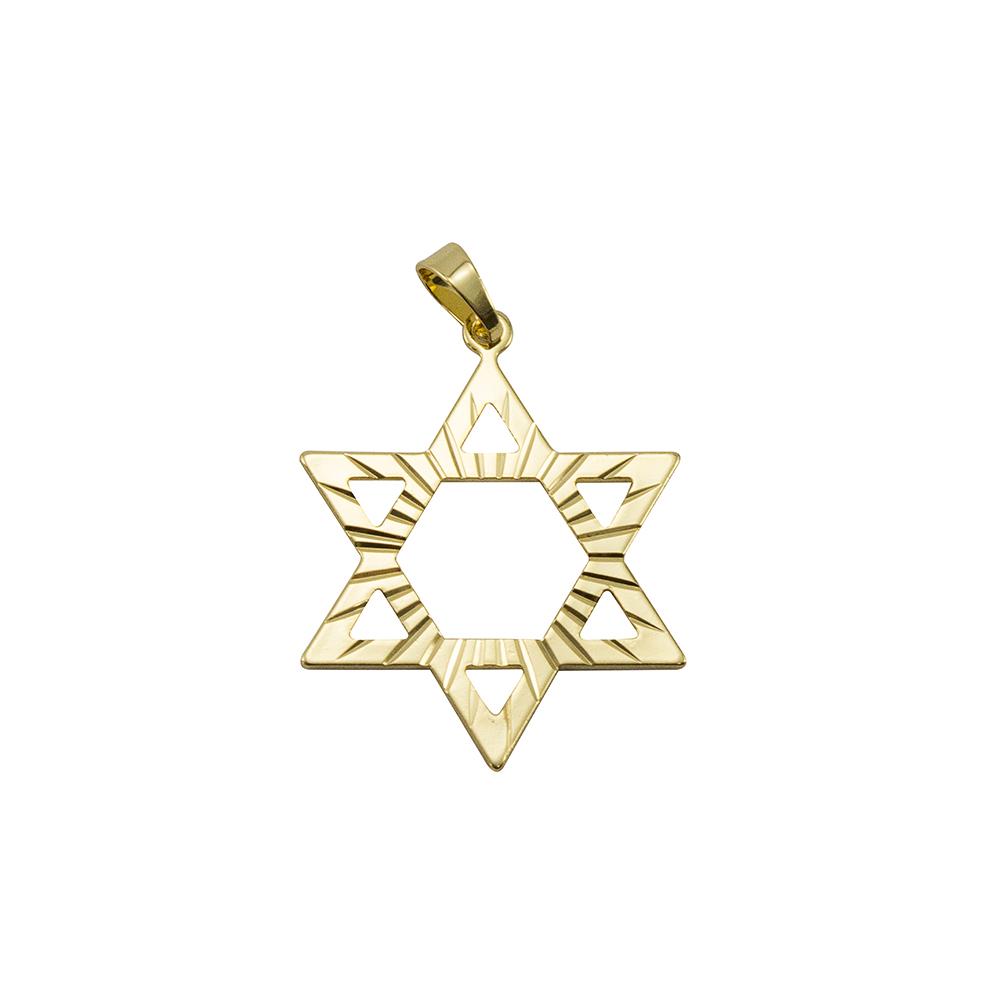 Pingente Estrela Davi Grande Folheado a Ouro 18K
