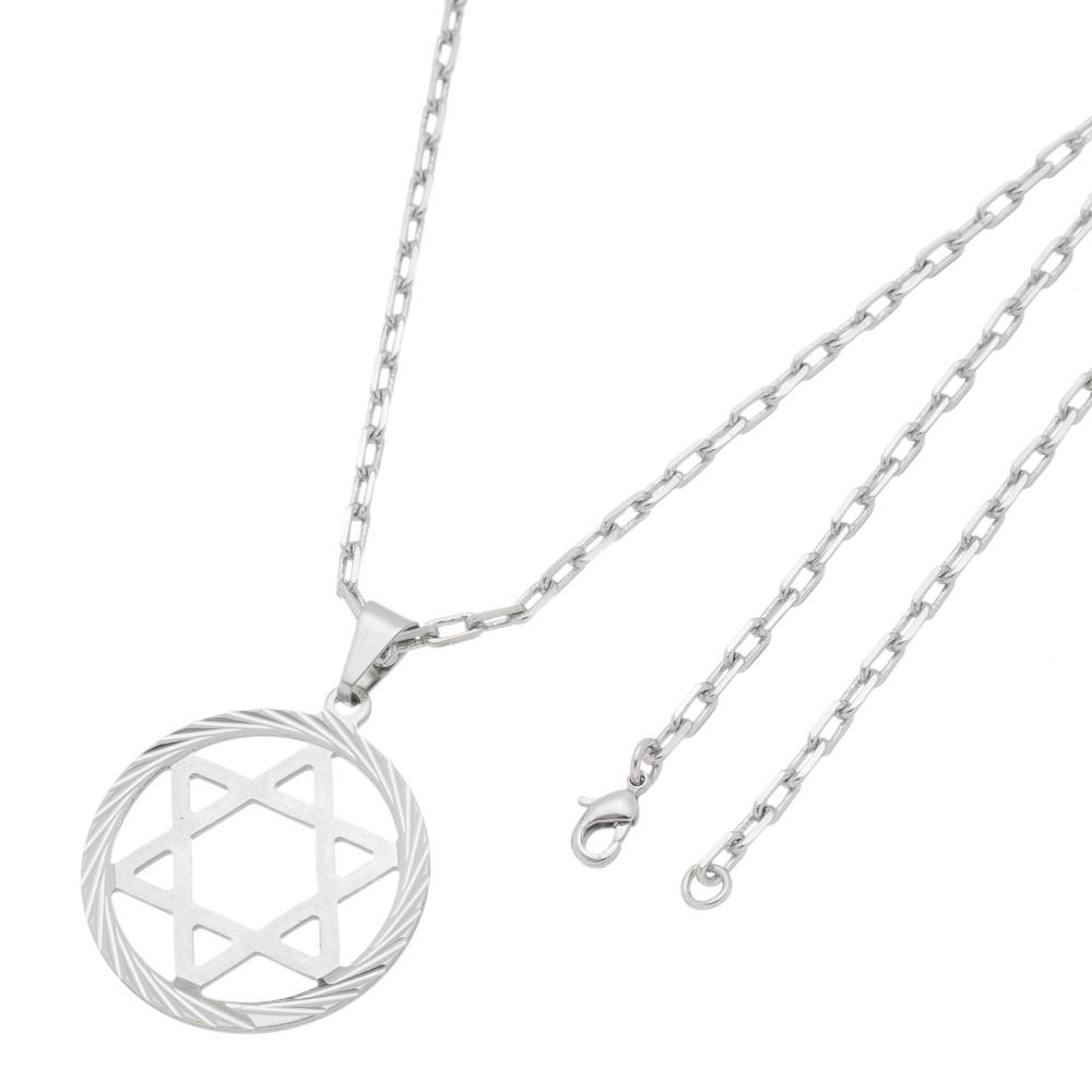 Pingente Estrela de Davi Com Corrente Modelo Francesa Folheado a Ródio Branco/Prateado