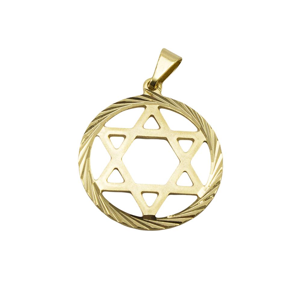 Pingente Estrela de Davi Folheado a Ouro 18k - Tudo Jóias - Belas ... 564b813a6a