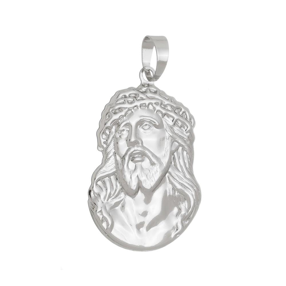 Pingente Face de Jesus Cristo Folheado a Ródio Branco/Prateado