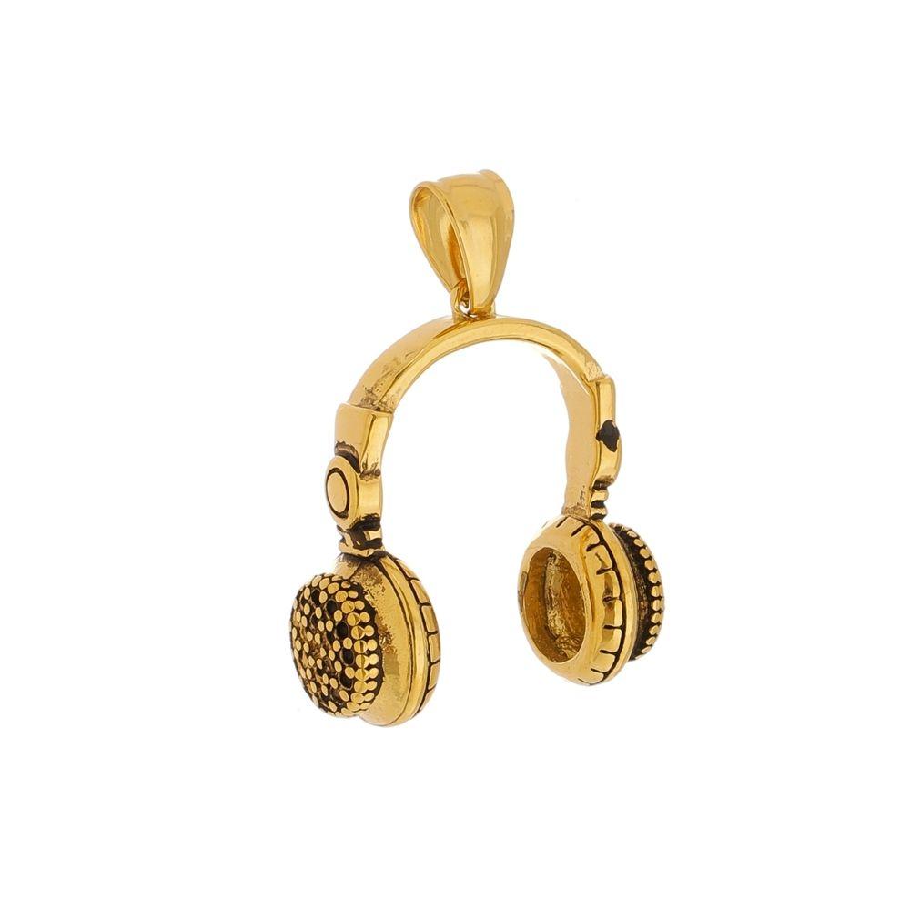 Pingente Fone de Ouvido de Aço Inox Dourado