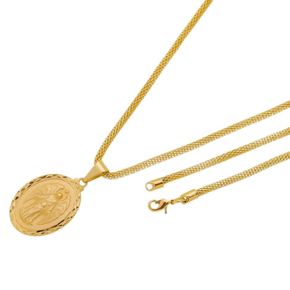 Pingente Medalha Anjo da Guarda Com Corrente Rede Folheada a Ouro 18k