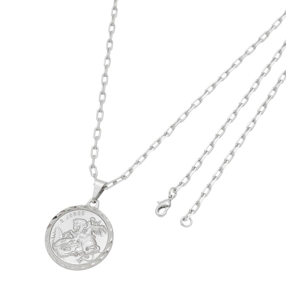 Pingente Medalha de São Jorge Com Corrente Modelo Francesa Folheado a Ródio Branco/Prateado