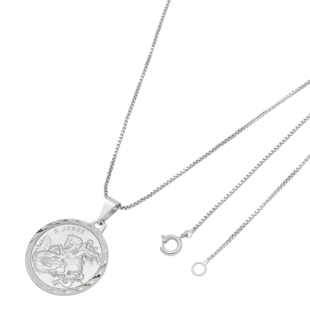 Pingente Medalha de São Jorge Com Corrente Veneziana Folheado a Ródio Branco/Prateado