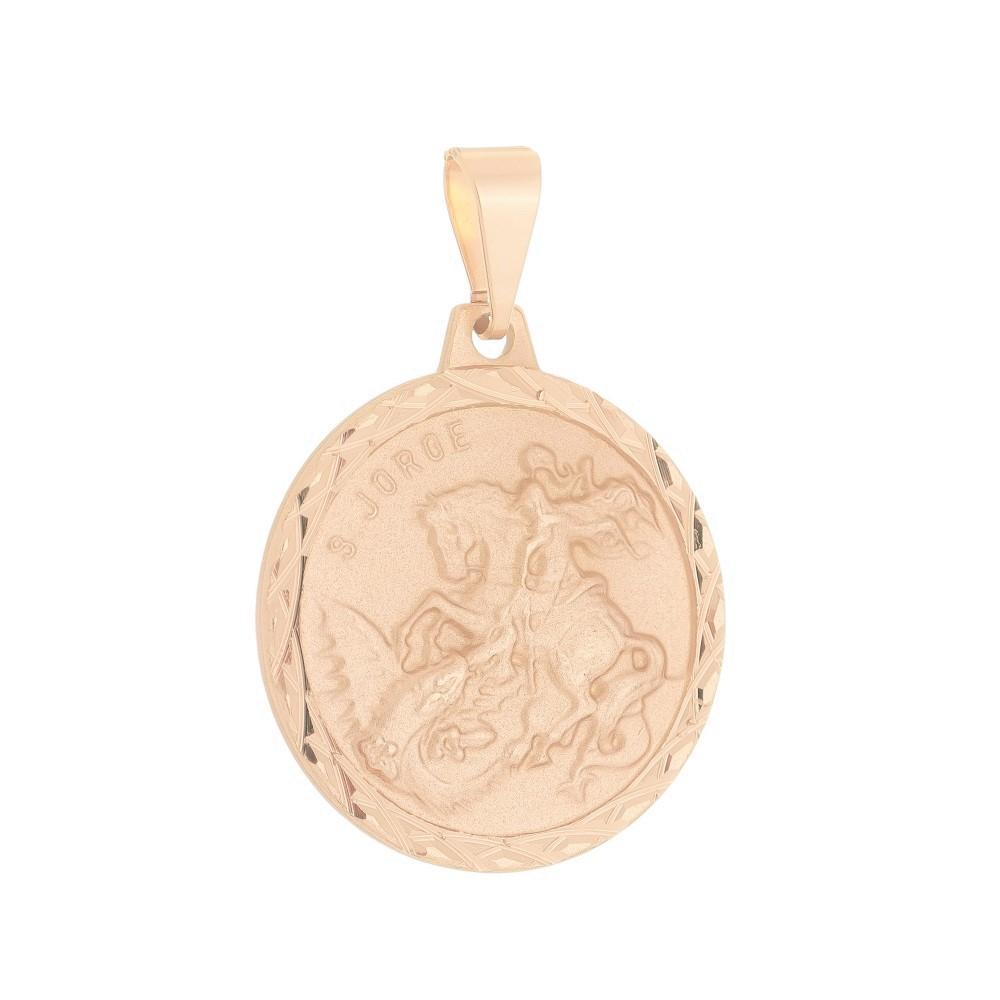 Pingente Medalha de São Jorge Folheado a Ouro Rosê