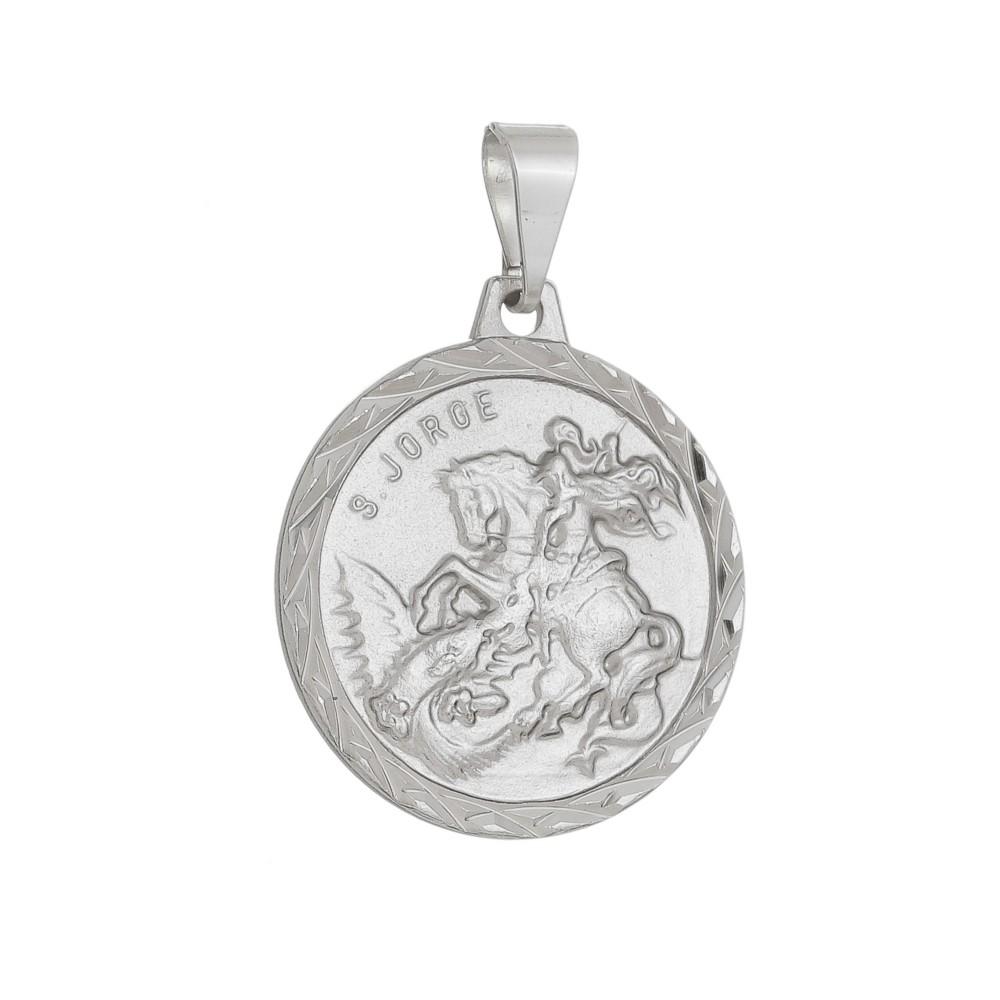 Pingente Medalha de São Jorge Folheado a Ródio Branco
