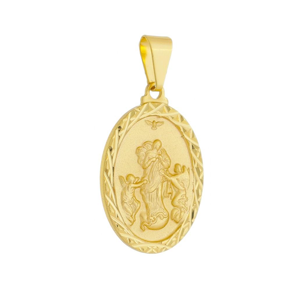 Pingente Medalha Desatadora de Nós Folheada a Ouro 18k