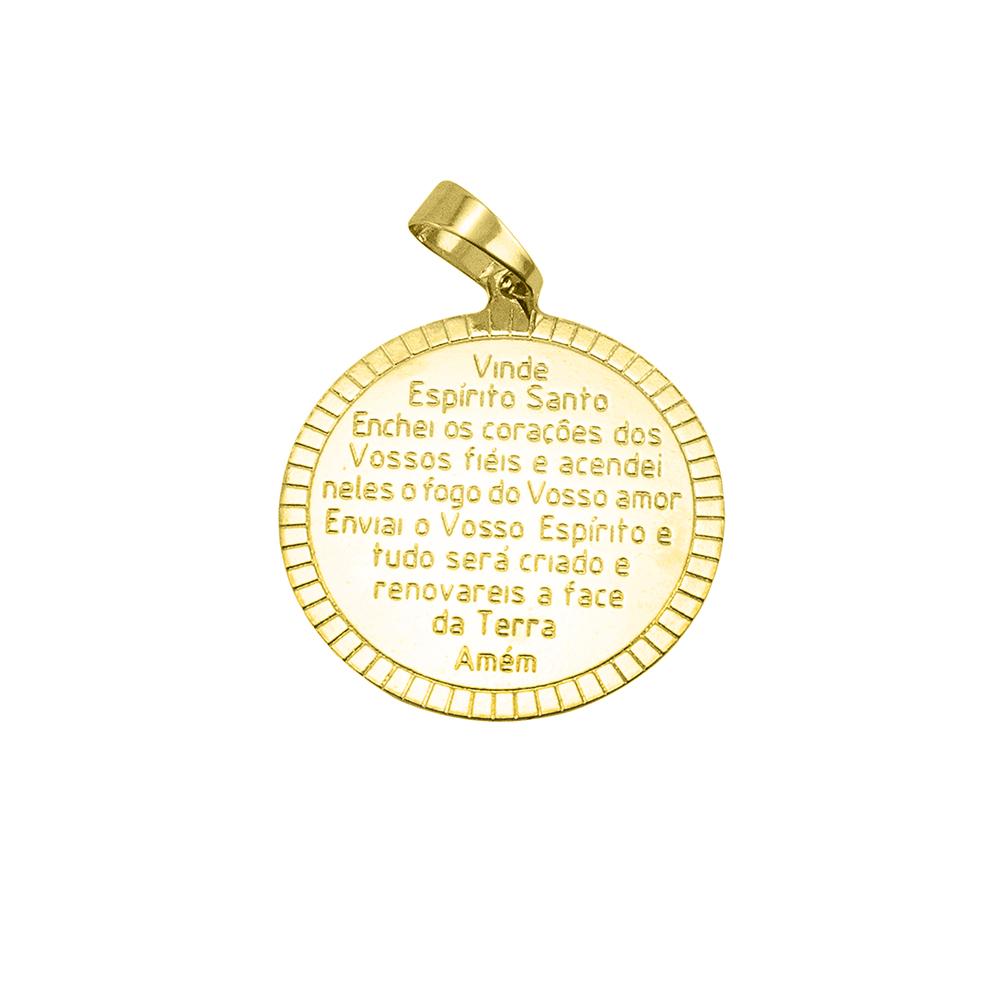 Pingente Medalha Espirito Santo com Oração Folheado a Ouro 18k