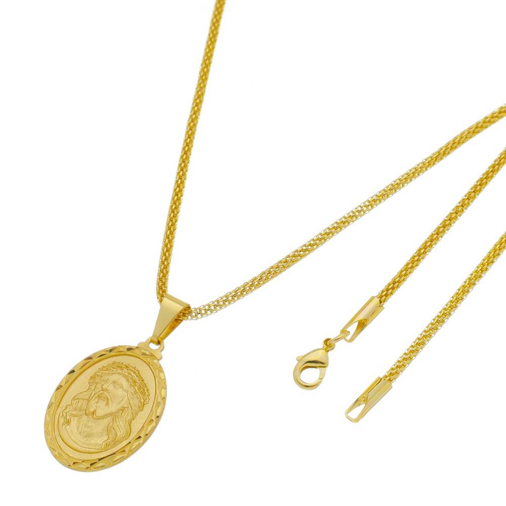 Pingente Medalha Jesus com Corrente Rede Folheada a Ouro