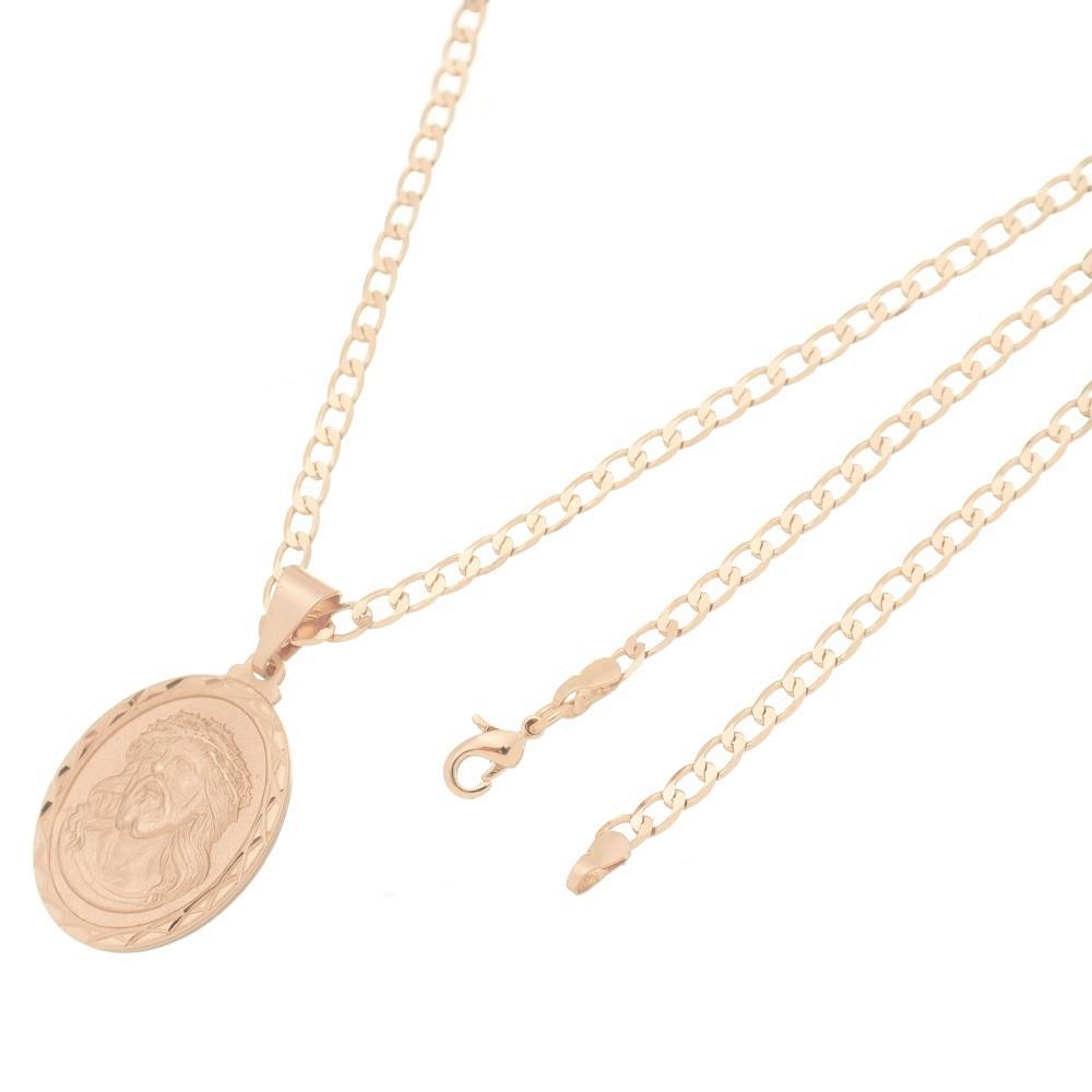 Pingente Medalha Jesus Cristo Com Corrente Elo Grumet Folheado a Ouro Rosê