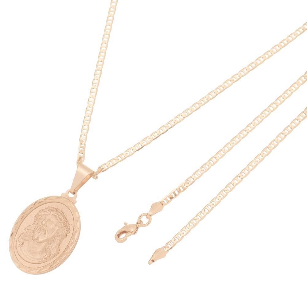 Pingente Medalha Jesus Cristo Com Corrente Elo Italiano Folheado a Ouro Rosê