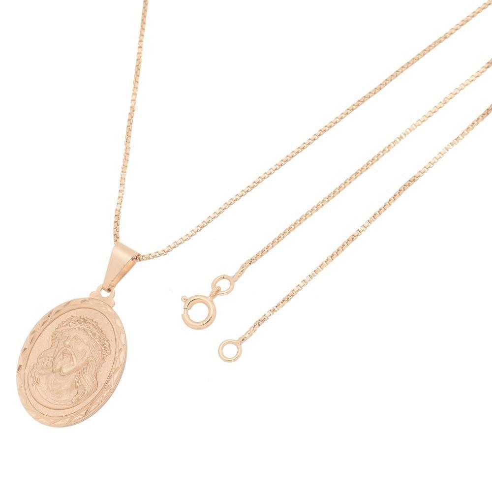 Pingente Medalha Jesus Cristo Com Corrente Veneziana Folheado a Ouro Rosê