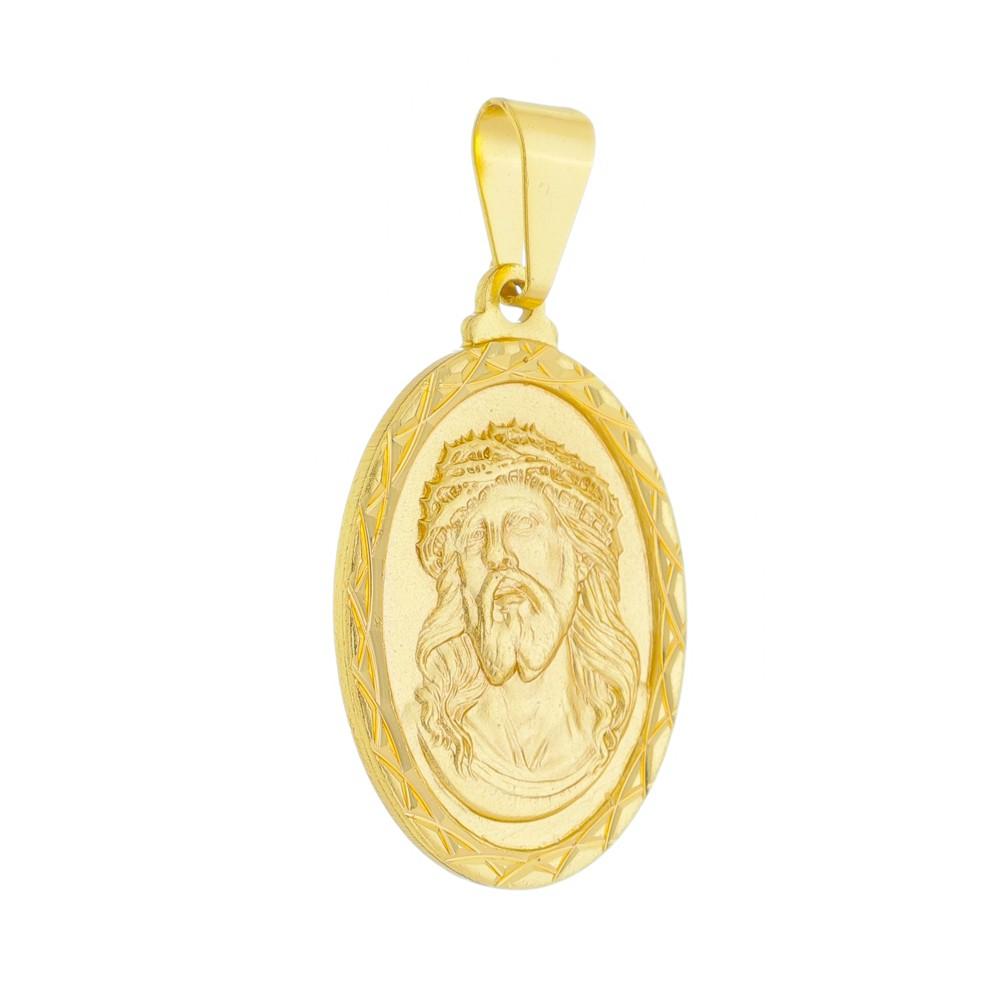 Pingente Medalha Jesus Cristo Folheada a Ouro 18k