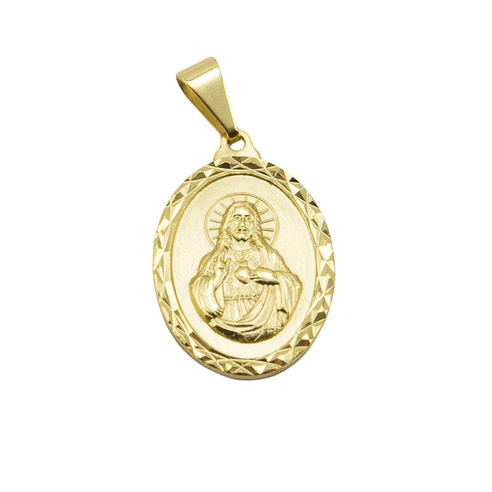 Pingente Medalha Jesus Cristo Folheado a Ouro 18k