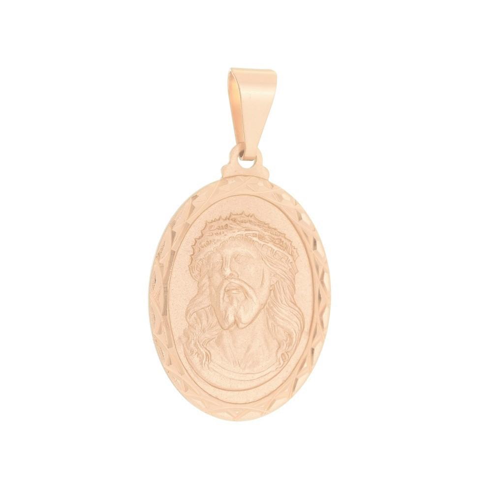 Pingente Medalha Jesus Cristo Folheado a Ouro Rosê