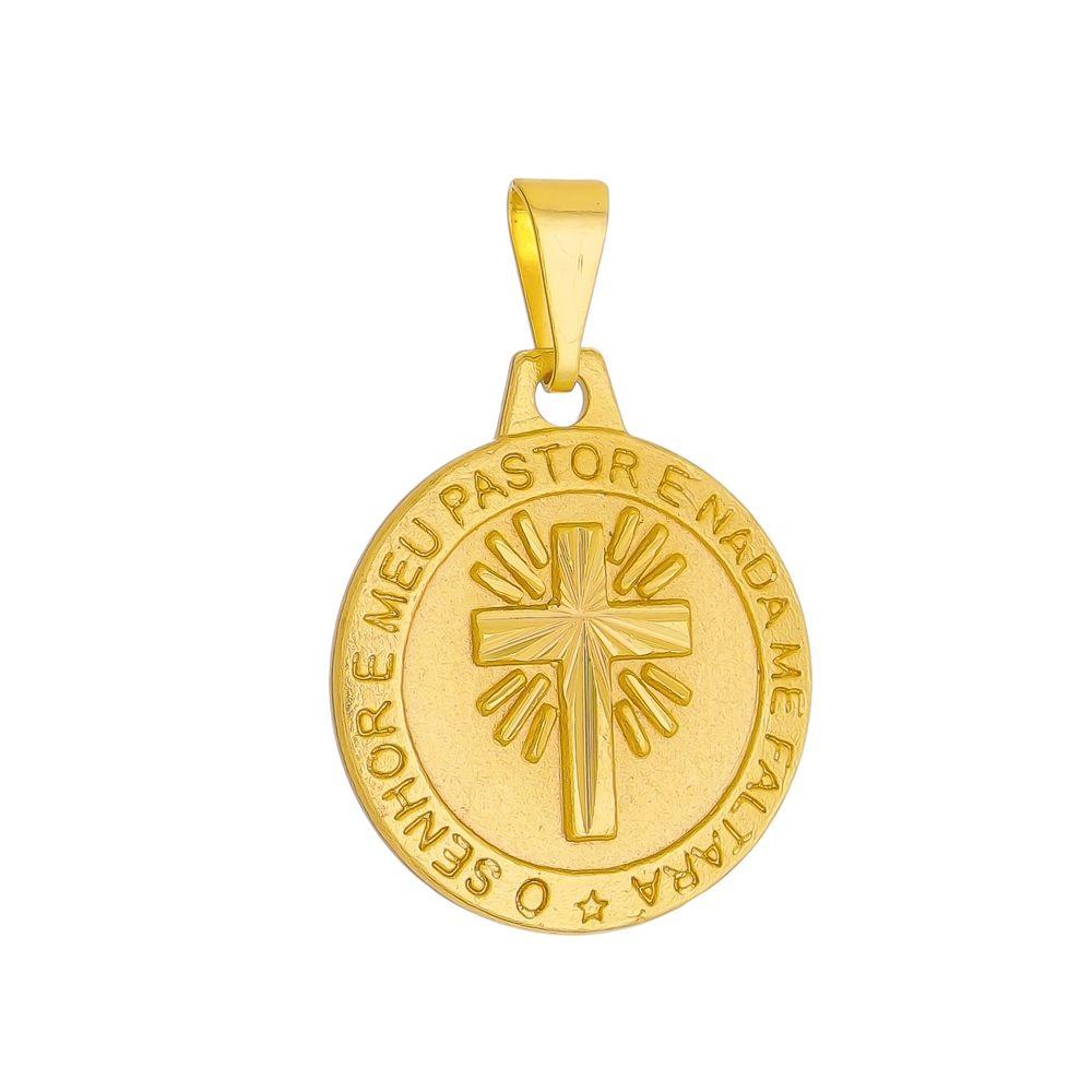 Pingente  Medalha  O Senhor é Meu Pastor Folheada a Ouro 18k