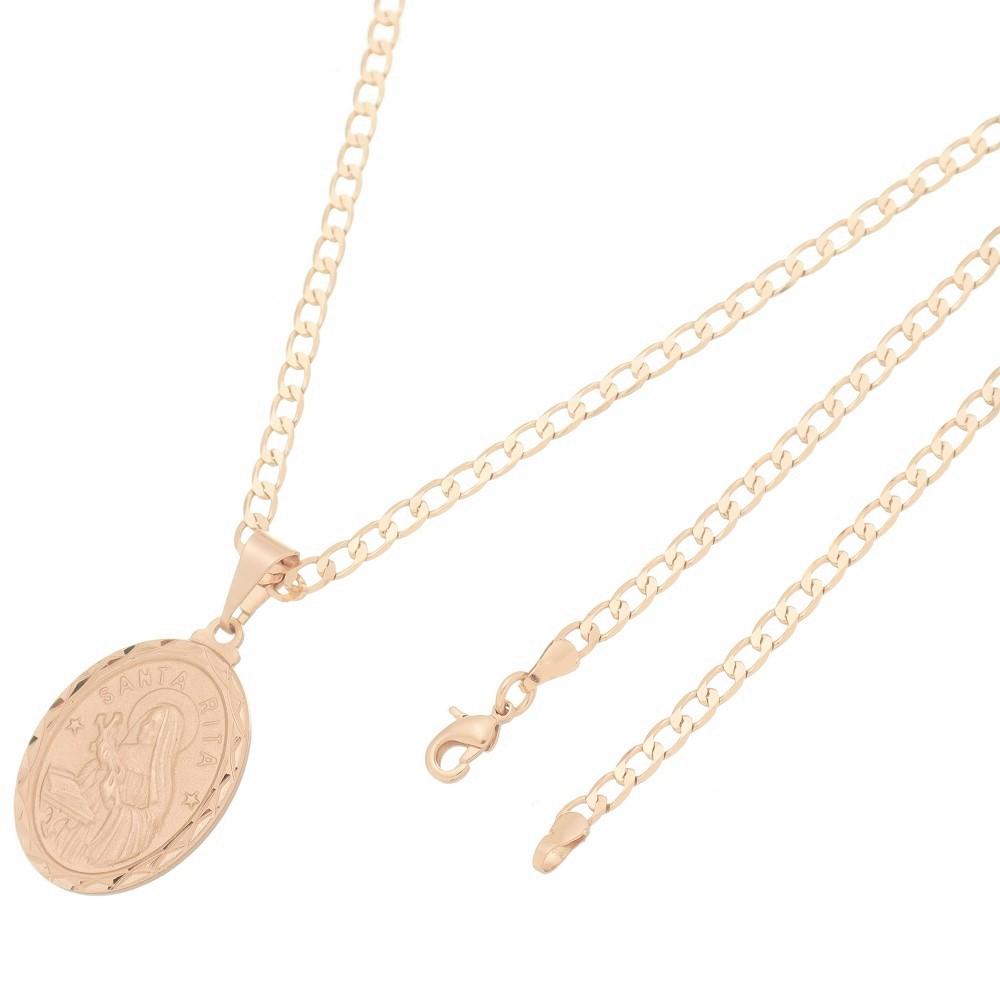 Pingente Medalha Santa Rita Com Corrente Elo Grumet Folheado a Ouro Rosê