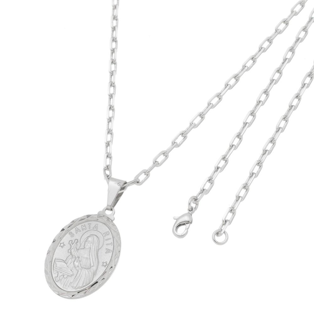 Pingente Medalha Santa Rita Com Corrente Modelo Francesa Folheado a Ródio Branco