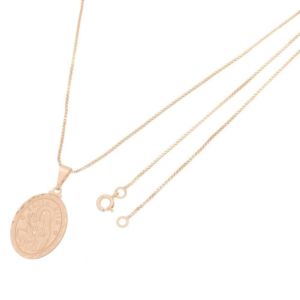 Pingente Medalha Santa Rita Com Corrente Veneziana Folheado a Ouro Rosê