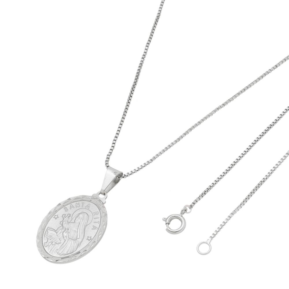 Pingente Medalha Santa Rita Com Corrente Veneziana Folheado a Ródio Branco