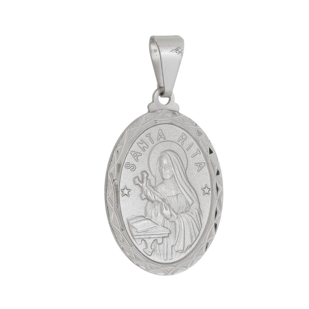 Pingente Medalha Santa Rita Folheado a Ródio Branco/Prateado