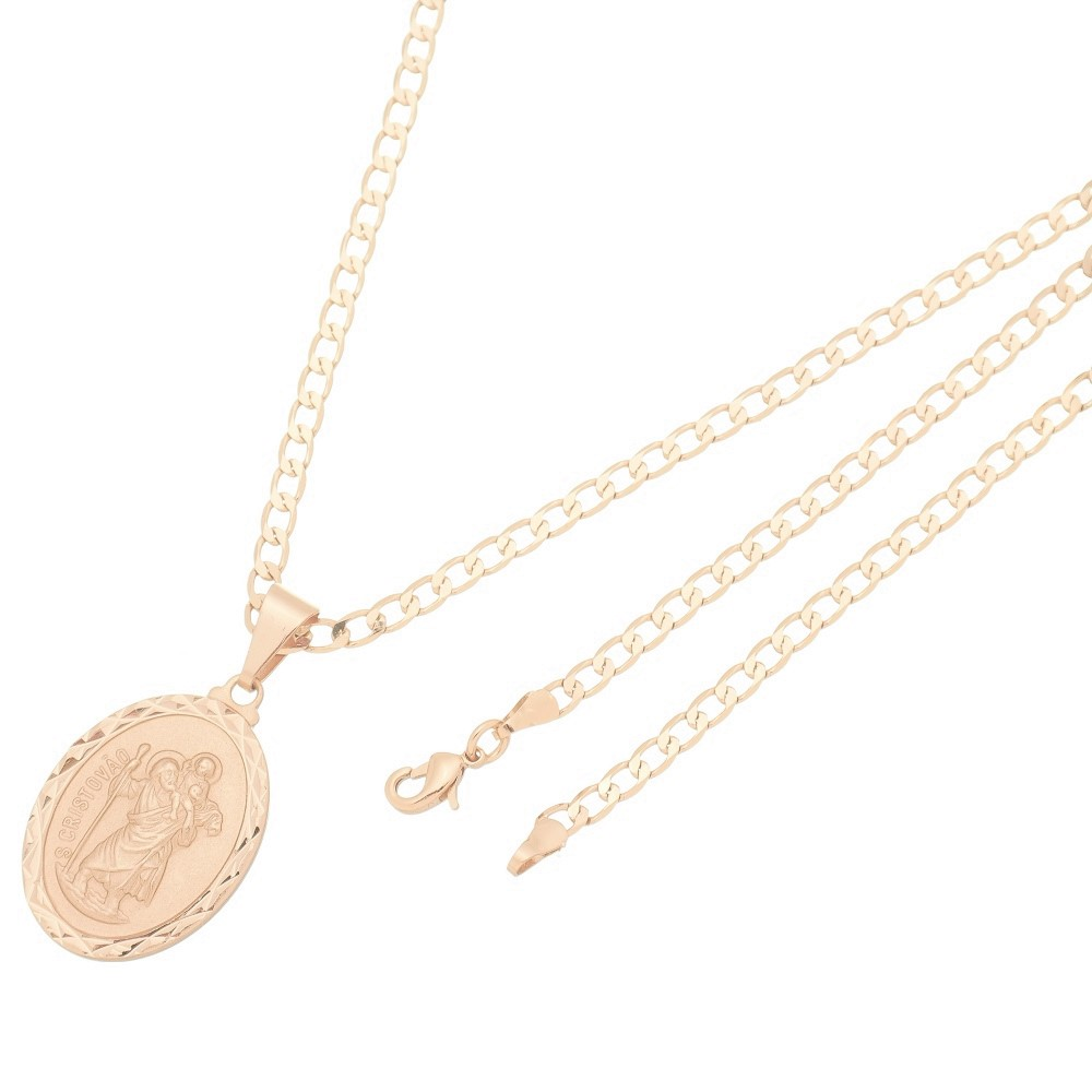 Pingente Medalha São Cristovão Com Corrente Elo Grumet Folheado a Ouro Rosê