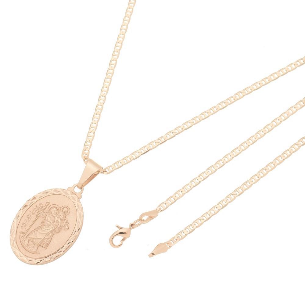 Pingente Medalha São Cristovão Com Corrente Elo Italiano Folheado a Ouro Rosê