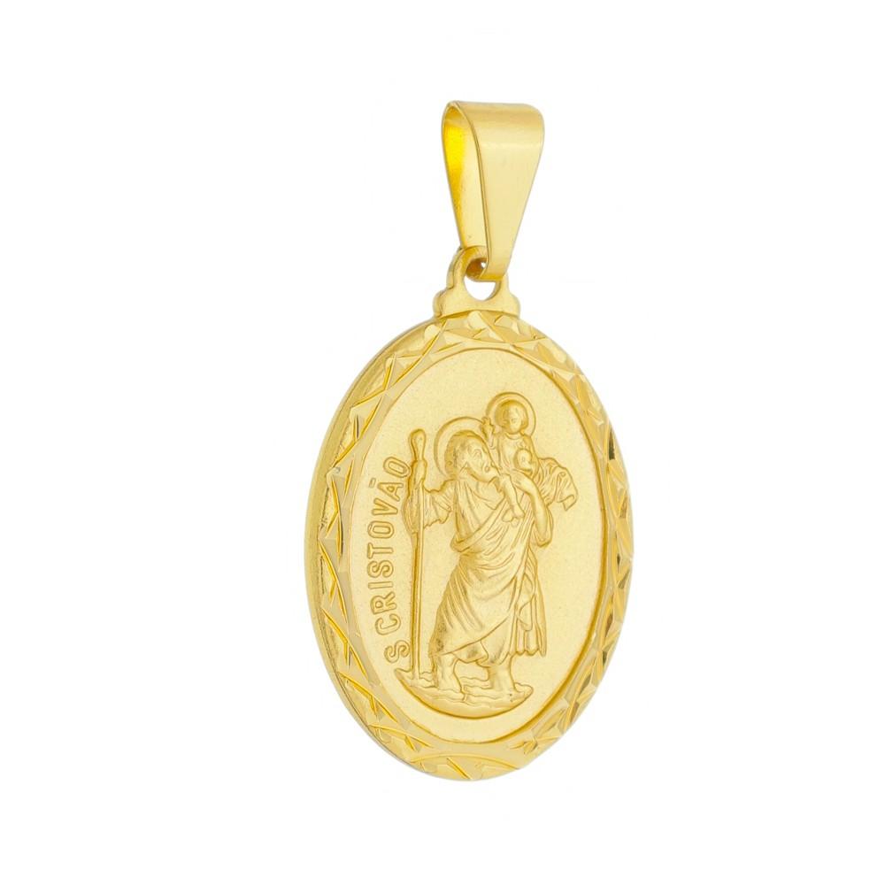 Pingente Medalha São Cristovão Folheada a Ouro 18k