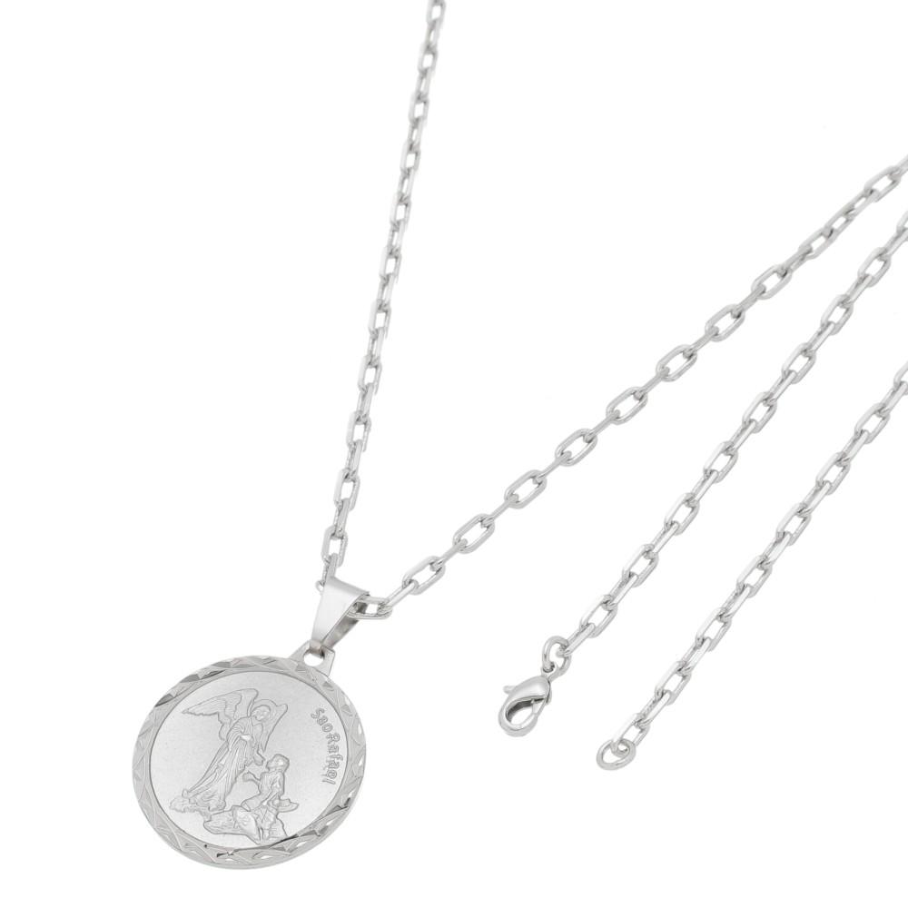 Pingente Medalha São Rafael Com Corrente Modelo Francesa Folheado a Ródio Branco/Prateado