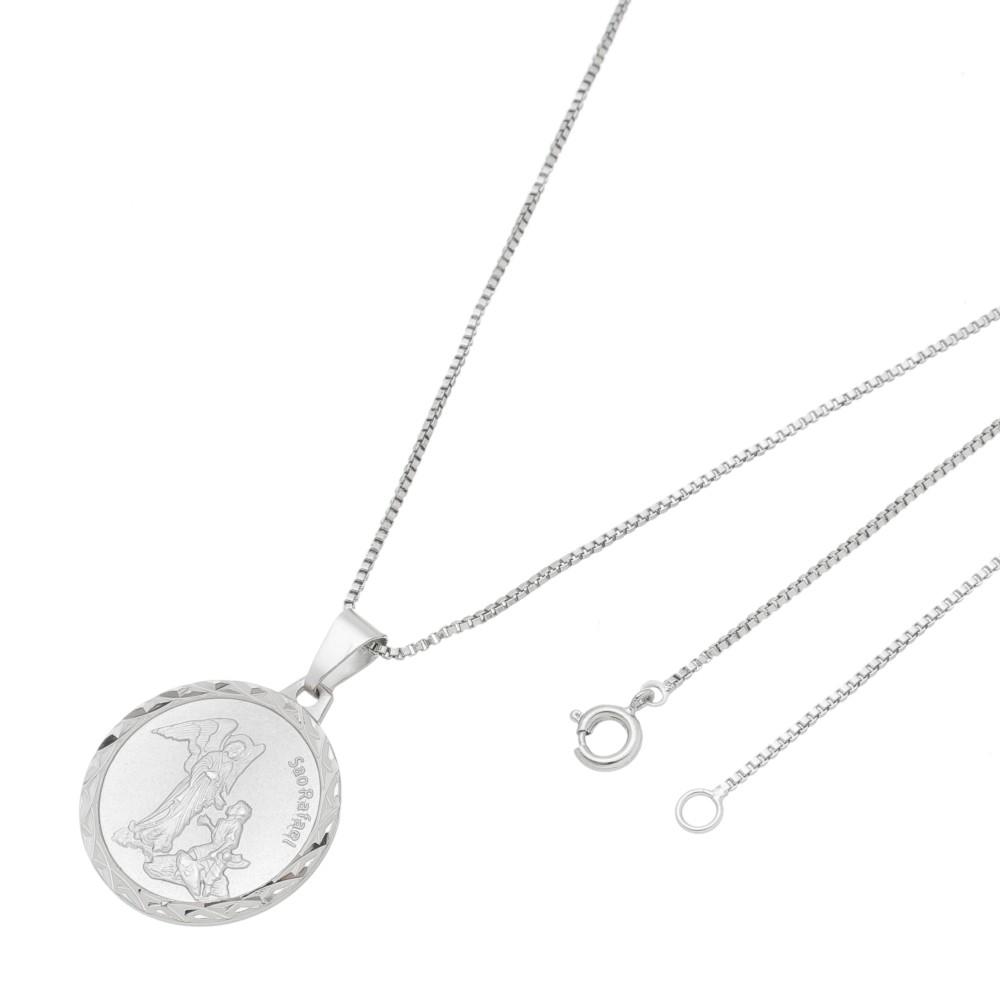 Pingente Medalha São Rafael Com Corrente Veneziana Folheado a Ródio Branco