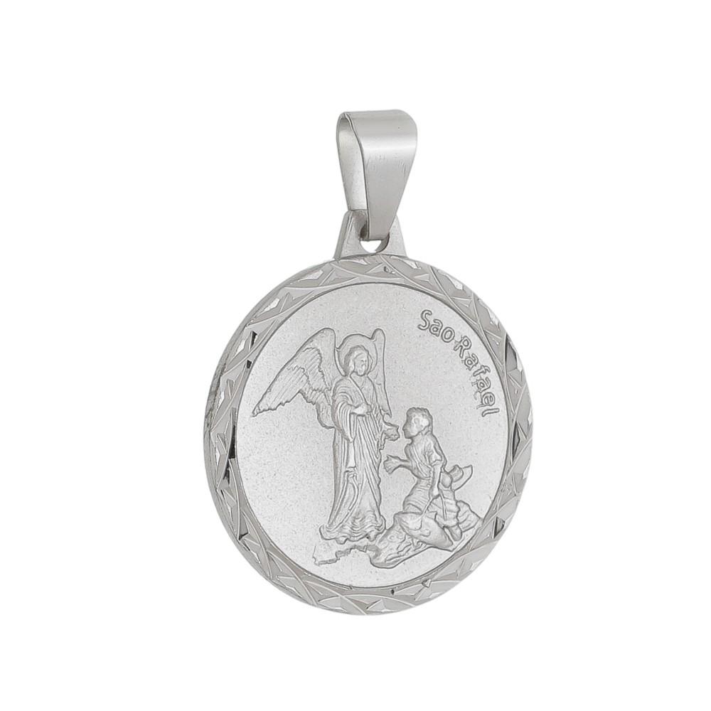 Pingente Medalha São Rafael Folheado a Ródio Branco/Prateado