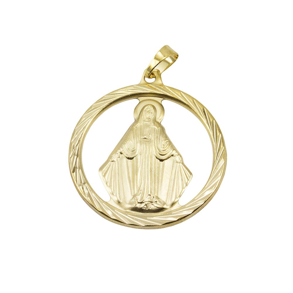 b9ef849cdd9a0 Pingente Nossa Senhora das Graças Diamantada Folheada a Ouro 18k - Tudo  Jóias