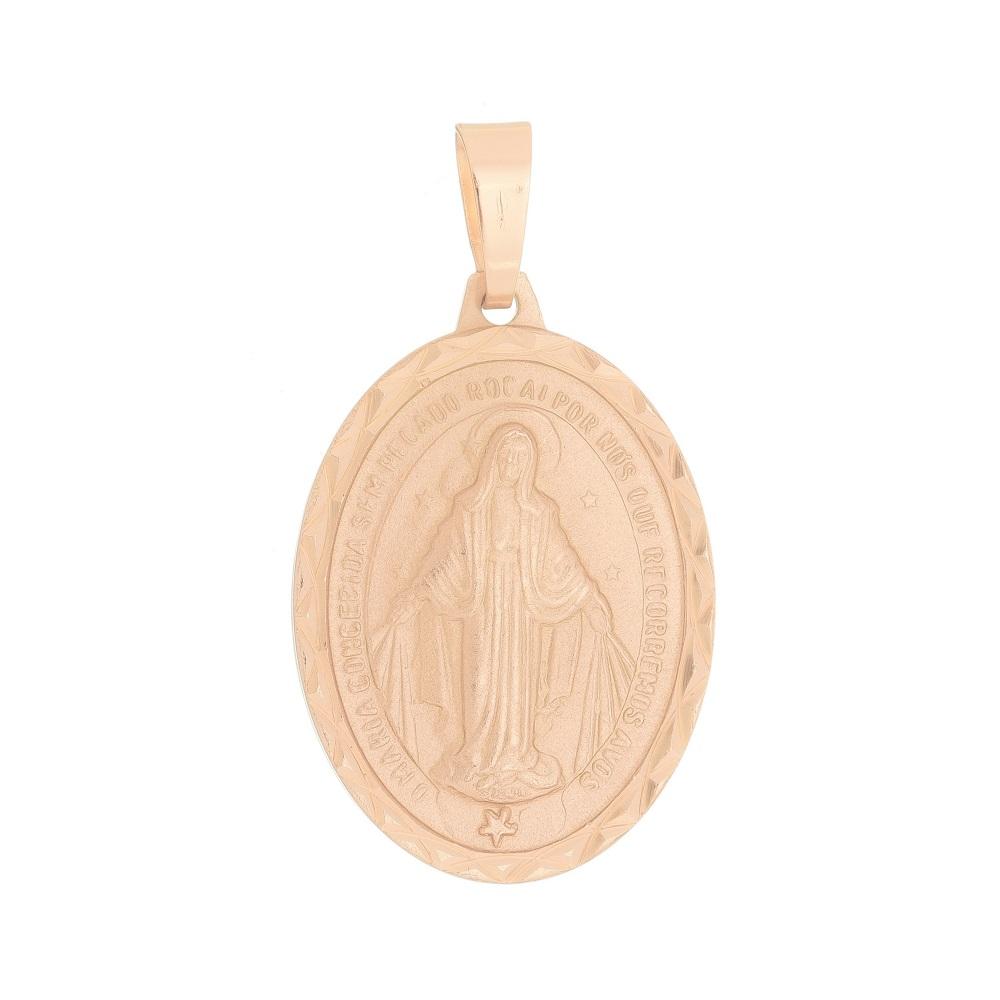 Pingente Nossa Senhora das Graças Milagrosa Folheado a Ouro Rosê