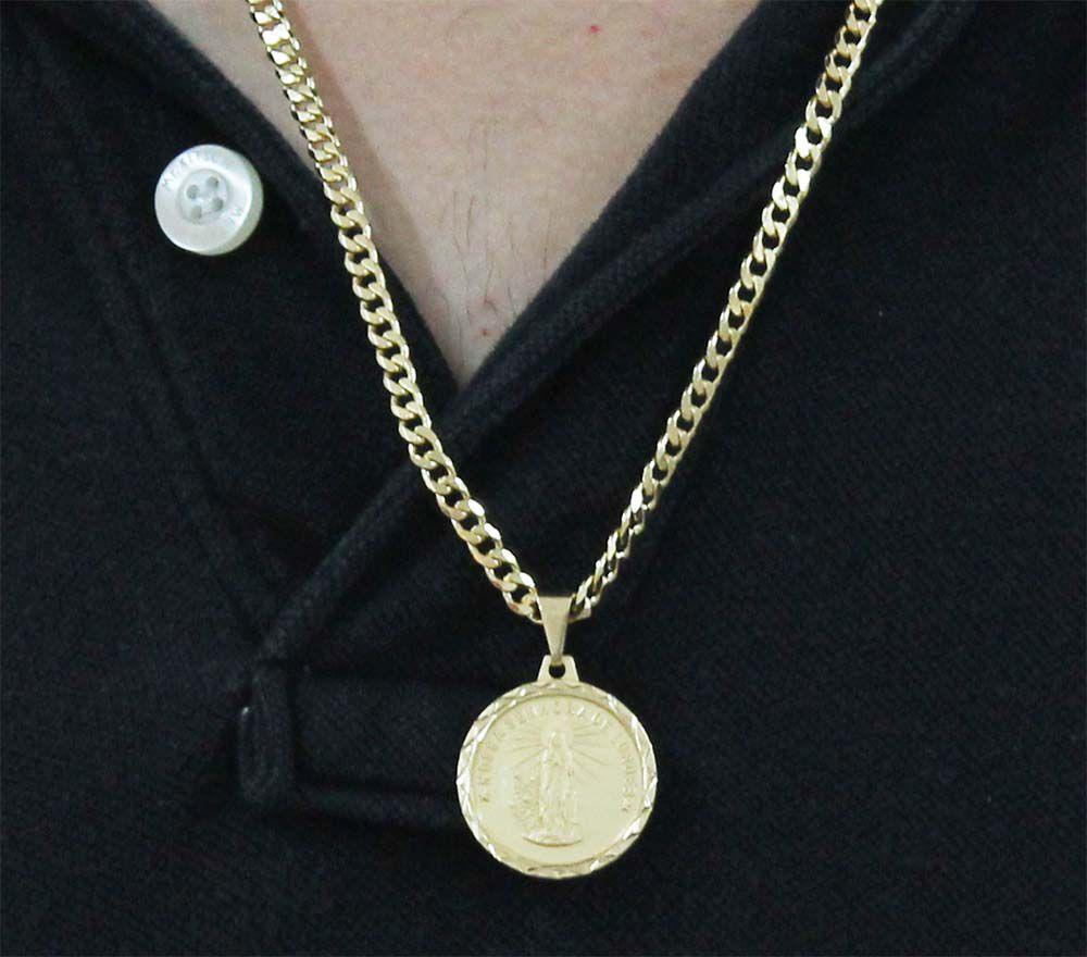 Pingente Nossa Senhora de Lurdes Com Corrente Grumet Folheada a Ouro 18k