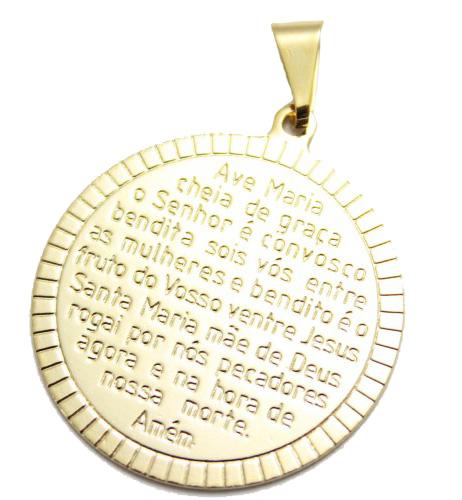 Pingente Oração Ave Maria Folheado a Ouro 18k