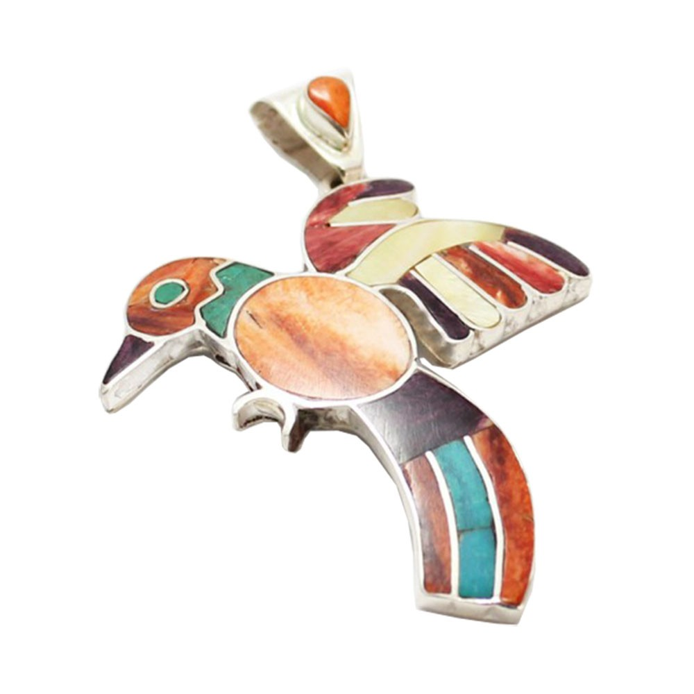 Pingente Pássaro de Prata 950 Peruana com Pedras Reconstituídas