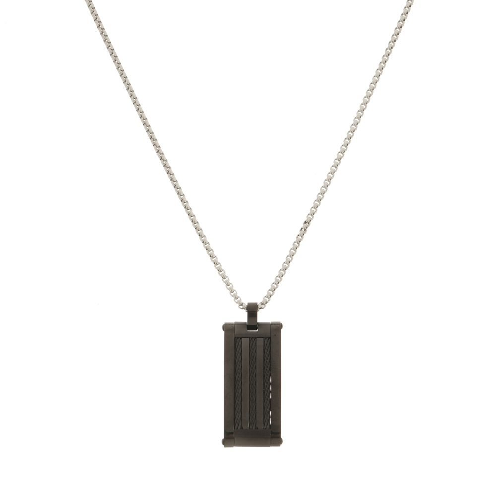 Pingente Placa Black Com Cabo Náutico de Aço Inox Modelo Gourmet