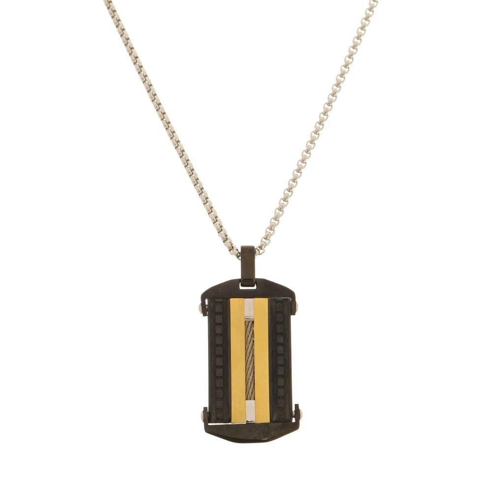 Pingente Placa Black e Gold Com Cabo Náutico de Aço Inox Modelo Gourmet
