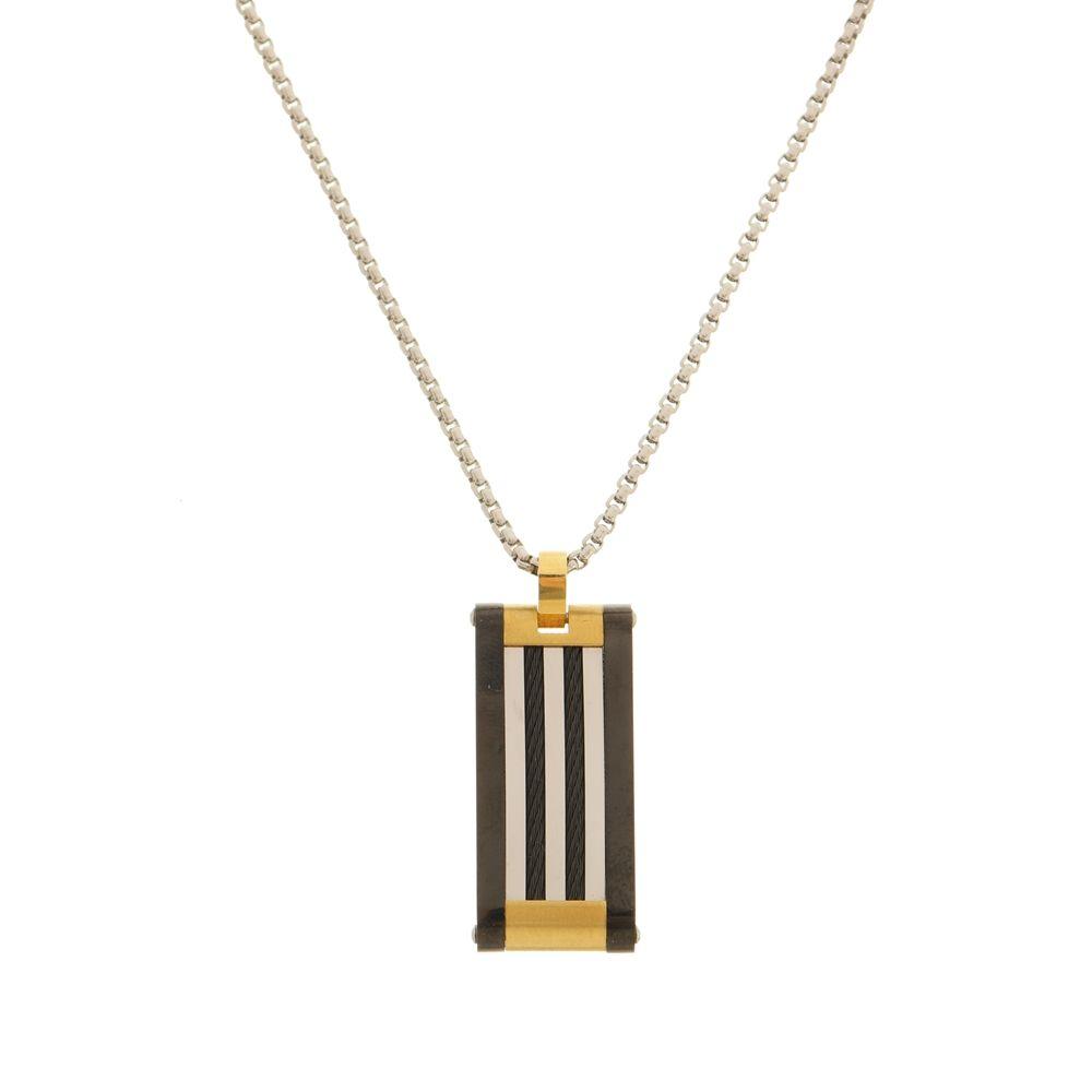Pingente Placa Black Gold Com Cabo Náutico de Aço Inox Modelo Gourmet