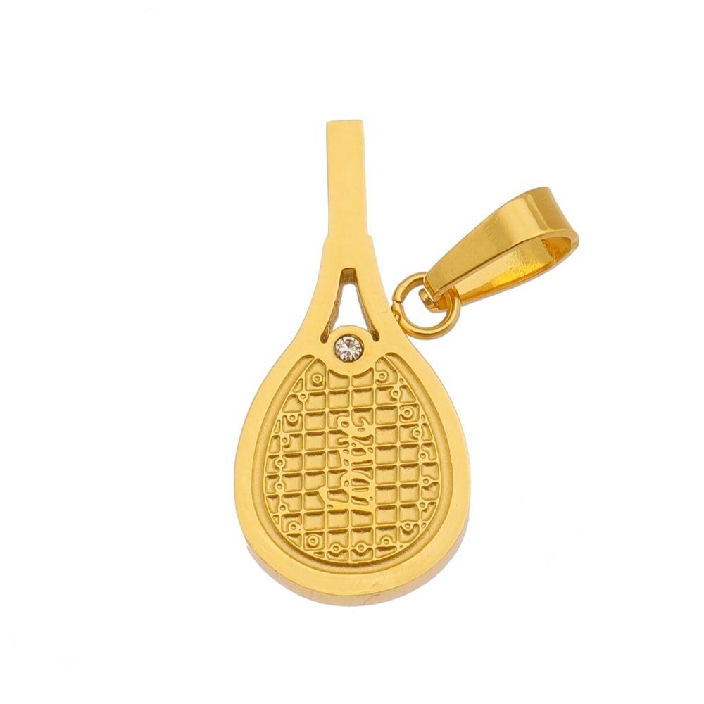 Pingente Raquete Love de Aço Inox  Modelo Dourado