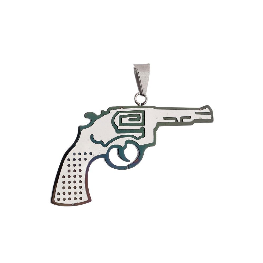 Pingente Revolver de Aço Inox 316L