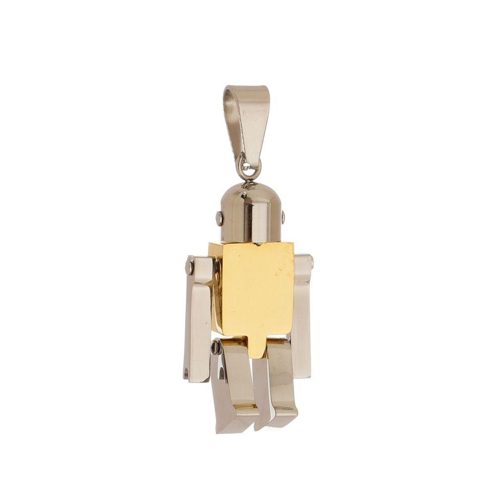 Pingente Robô de Aço Inox Modelo Dourado