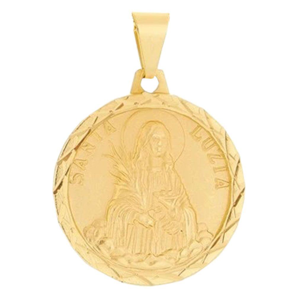 Pingente Santa Luzia Folheada a Ouro 18k