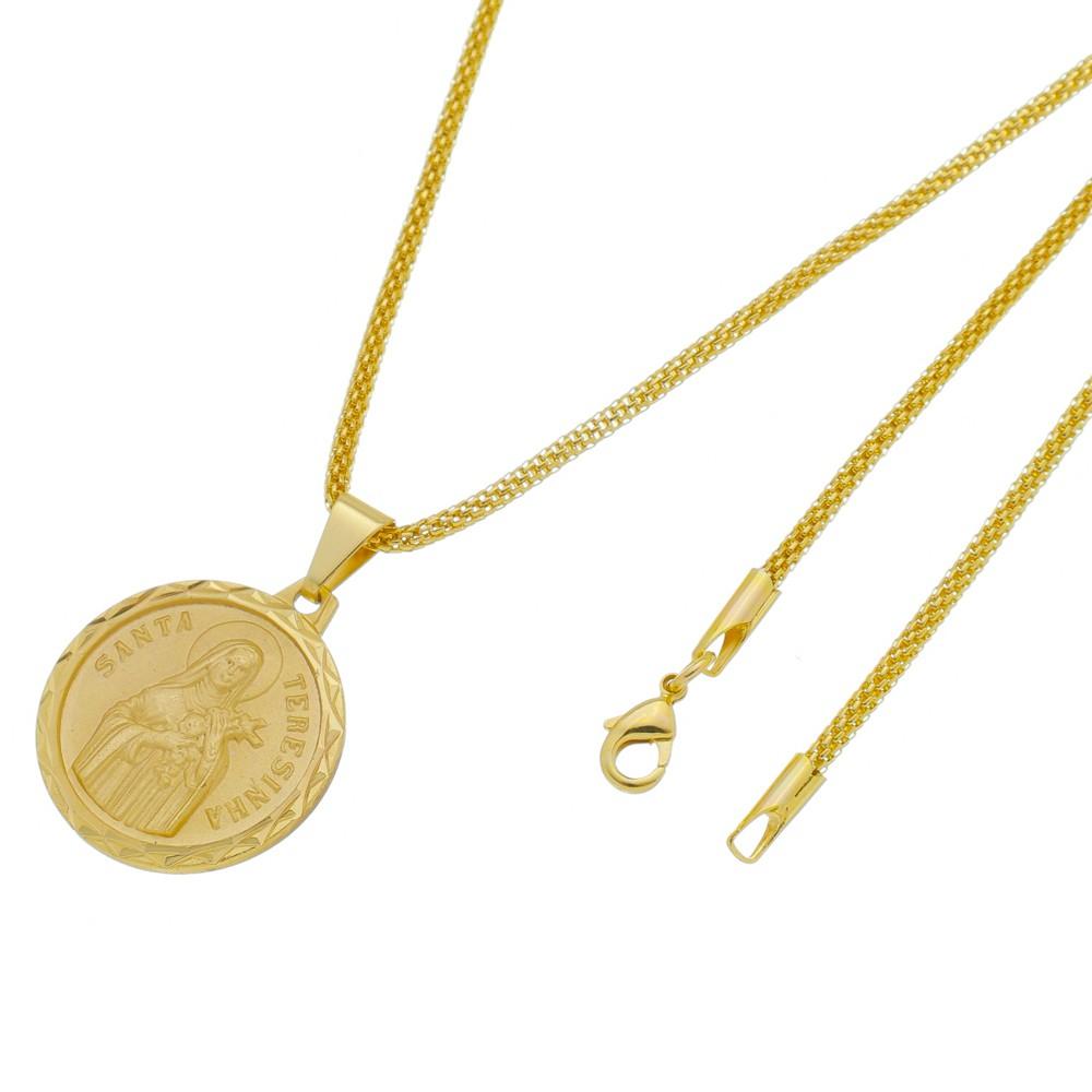 Pingente Santa Terezinha com Corrente Rede Folheada a Ouro